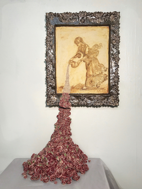 woman pouring roses in a painting turning into ceramic roses