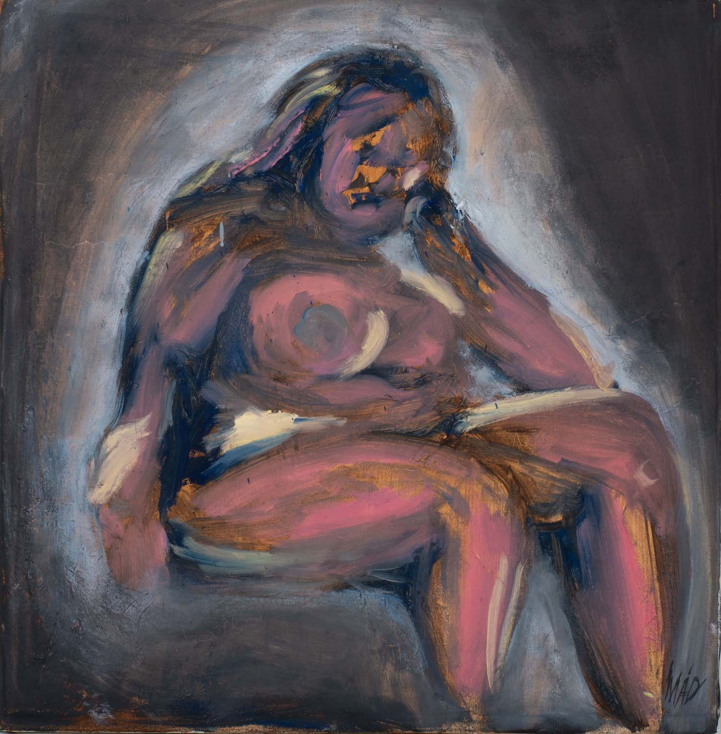 naked woman against a dark background