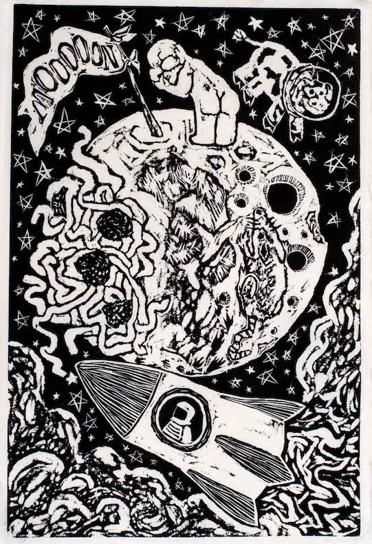 astronaut on the moon, cow floating over the moon, astronaut in rocket ship flying below the moon