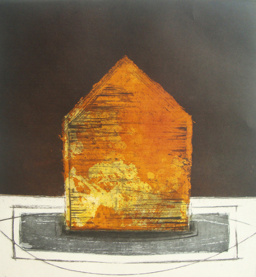 A house-shaped object in oranges and yellows with a black sky