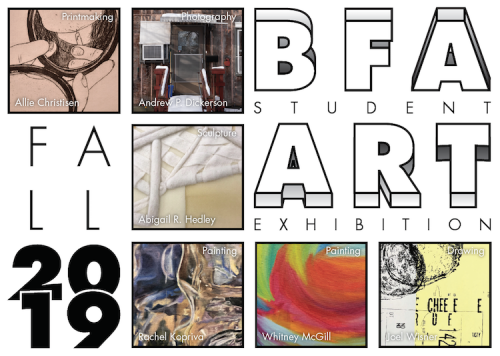 The postcard design for the fall 2019 B.F.A. Group Exhibition