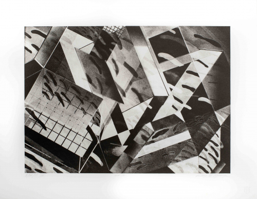 From Graphite Extensions, a suite of five black and white lithographs; pulled from a graphite drawing on stone