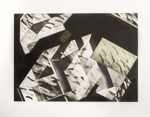 Black and white geometric abstract depiction.