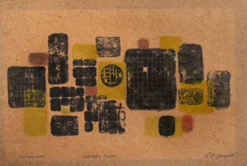 Black, yellow and red rounded rectangles; some contain grid patterns on brown paper