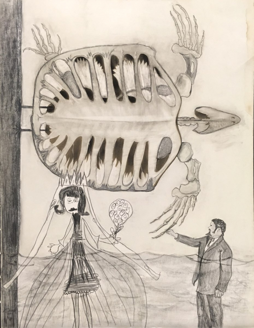 A composition featuring the skeleton of a turtle in the middle and upper sections as well as a male figure in a suit (LR) and ch