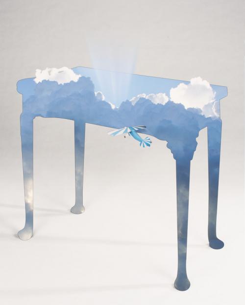 A digital print, antique and blue sky