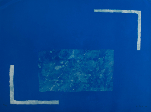 A marbleized blue rectangle at center of blue composition with two light blue right angles at diagonal corners.
