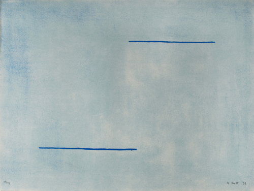 An almost entirely soft blue composition with two darker horizontal blue lines running parallel in top right and bottom left.