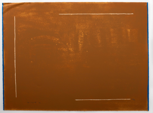 A mostly brown image with thin white lines along three of the four sides, thin blue vertical boarders on sides.