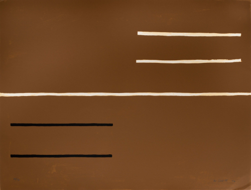 A mostly brown composition with a cream line running horizontally through the middle with two shorter lines above and below.