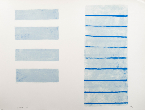 On the right a light brushed blue vertical rectangle with darker blue horizontal lines running through it