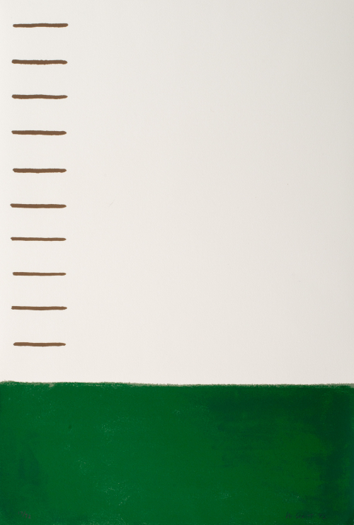 Bottom third of composition, the rest is white with tan horizontal lines to the left.