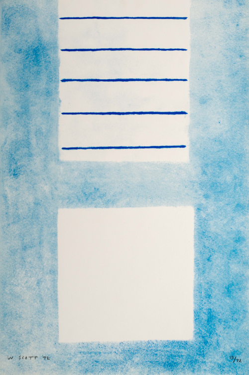 Soft blue composition of two white rectangles, the top of which has five horizontal dark blue lines through it.