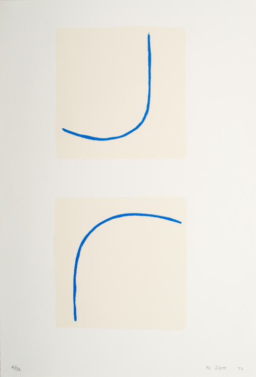 A print composed of two cream-colored squares with a curved blue line running through each.