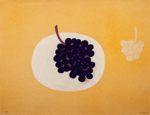 An orange composition with a white circle towards the center with purple grapes placed on it, smaller uncolored grapes near it.