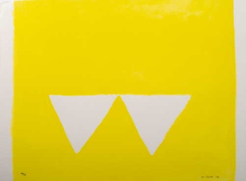 A mostly yellow composition with two white triangles towards the bottom placed close together pointed down.