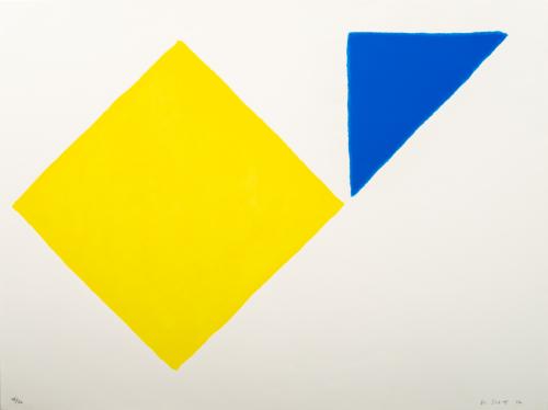 A large yellow diamond shape and a blue triangle.