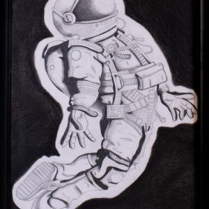 astronaut against black background