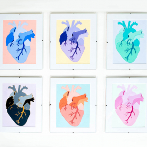 six pictures of the same heart in different colors