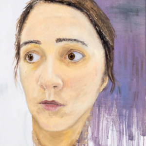 face looking off to the side against a white and purple background