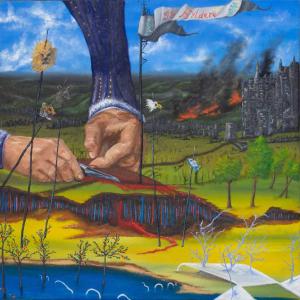 large hands destroying land