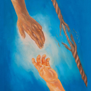 adult hand and child hand reaching for each other next to a rope fraying in the middle
