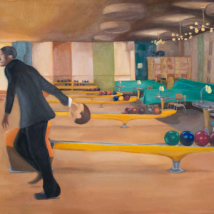 man in bowling alley bowling with a human head
