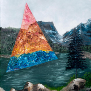 nature scene with water, trees, and mountains; large triangle that changes the colors of the work
